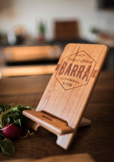 Personalized Engraved Wood Tablet Stand with your Custom Design by Well Written Gifts