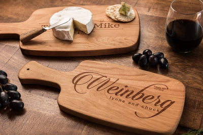 Personalized Cheese Board Set, Custom Wood Cutting Board Set with Handles by Well Written Gifts