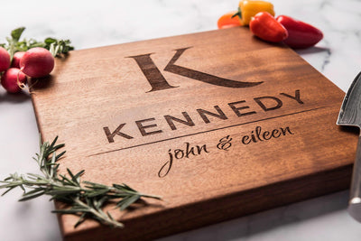 Cutting Board Personalized, Monogrammed Wedding Gift, Engraved Wood Gift by Well Written Gifts