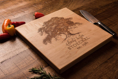 Personalized Oak Tree Cutting Board Gift for Couple by Well Written Gifts