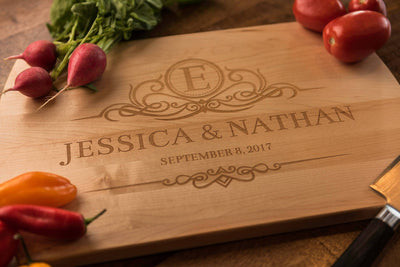 Personalized Custom Cutting Board | Monogrammed Wedding Gift by Well Written Gifts