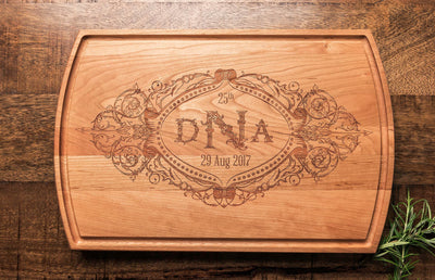Custom Engraved Cutting Board with Couple's Monogram and Wedding Date by Well Written Gifts