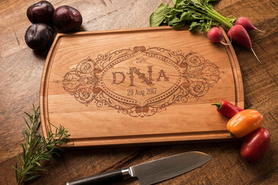 Engraved Custom Cutting Board with Couple's Monogram and Wedding Date by Well Written Gifts