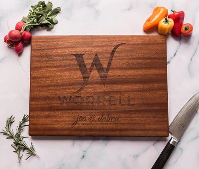 Personalized Custom Monogrammed Cutting Board with Family Name and First Names by Well Written Gifts