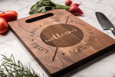 Modern Wood Cutting Board, Personalized Cheese Board, Custom Charcuterie Board by Well Written Gifts