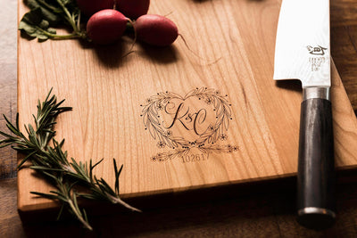 Personalized Charcuterie Board,  Monogrammed Cutting Board with Heart by Well Written Gifts