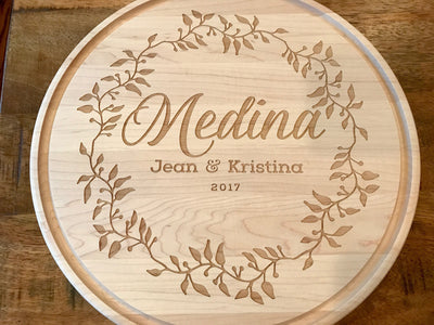 Gorgeous Round Personalized Cutting Board in Maple Engraved with Names & Date by Well Written Gifts