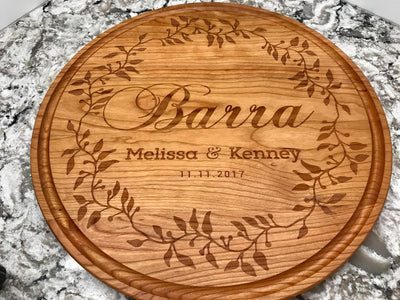 Gorgeous Round Personalized Cutting Board in Cherry Engraved with Names & Date by Well Written Gifts