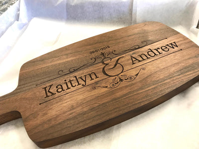 Cutting Boards Personalized, Cheese Board, Wedding Gift for Couple, Walnut,  by Well Written Gifts