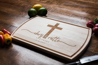 Custom Engraved Wedding Gift, Personalized Cutting Board with Cross by Well Written Gifts