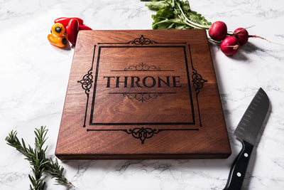 Personalized Cutting Board with Framed Family Name, Sapele Cutting Board by Well Written Gifts