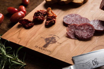 Personalized Charcuterie Board with Celtic Cross, Wood Cutting Board Irish Gift - Well Written Gifts