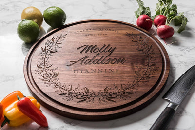 Round Personalized Wood Cutting Board with Names, Date and City State - by Well Written Gifts