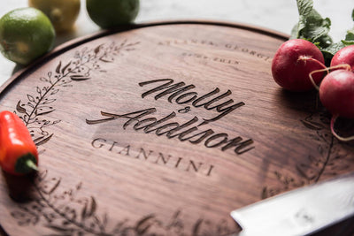 Beautiful Personalized Wedding Gift for Couple, Round Walnut Cutting Board by Well Written Gifts