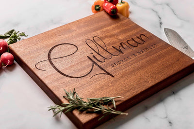 Custom Engraved Personalized Wood Cutting Board in Sapele from Well Written Gifts
