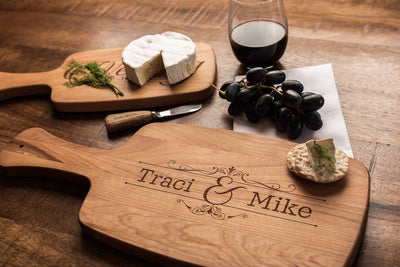 Personalized Cheese Board Set with Handles, Custom Wood Cutting Board Set by Well Written Gifts