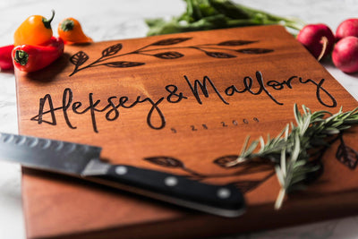 Personalized Cutting Board, Engraved Sapele Cutting Board by Well Written Gifts