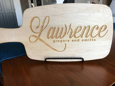 Personalized cheese board anniversary gift in maple by Well Written Gifts