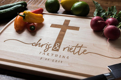 Personalized Cutting Board with Cross, Custom Christian Wedding Gift by Well Written Gifts