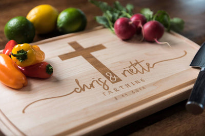 Engagement Gift for Couple, Personalized Cutting Board by Well Written Gifts