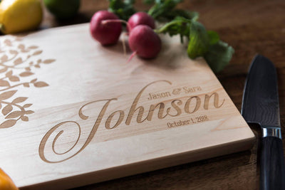 Cutting Board Personalized | Engraved Wood | Oak Tree Young Love by Well Written Gifts