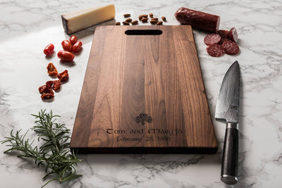 Personalized Cutting Board with Shamrock, Gift for Couple in Walnut, by Well Written Gifts