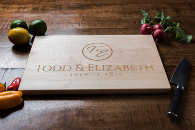 Personalized Cutting Board, Engraved with First Names and Initial Only, by Well Written Gifts
