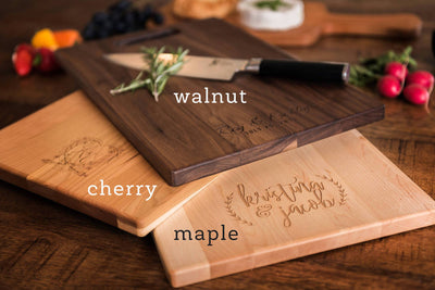Gorgeous Personalized Wood Cutting Boards in Maple, Cherry and Walnut by Well Written Gifts