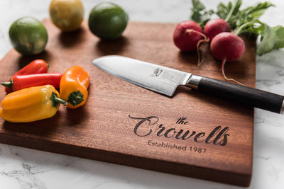 Personalized engraved premium wood cutting board 5th anniversary gift for couple  Well Written Gifts