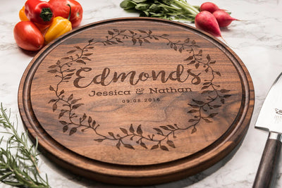 Gorgeous Round Personalized Cutting Board in Walnut Engraved with Names & Date by Well Written Gifts