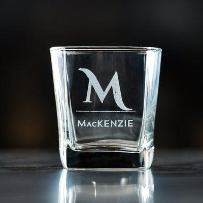 Personalized 12 oz. Monogrammed Whiskey Glasses, Corporate Client Gift, Unique Engraved Rocks Glass Set, Boyfriend Gift, Husband Gift