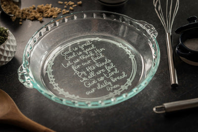 Custom Pie Plate - Engraved Grace Prayer Pie Dish, Pyrex Deep Dish Glass Pie Plate