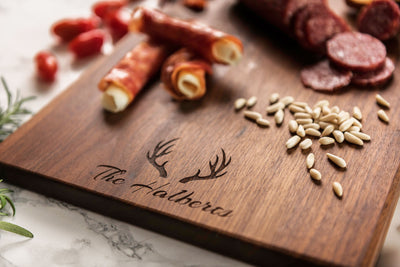 Personalized Charcuterie Board with Antler, Custom Cutting Board Wedding Gift, Engagement Gift for Couple, 5th Anniversary Gift, Wooden Tray