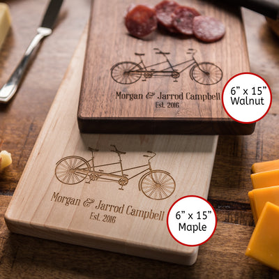 Personalized Cheese Board, Charcuterie Board Engagement Gift for Couple, Bicycle Baguette Board, Custom Cutting Board Wedding Gift