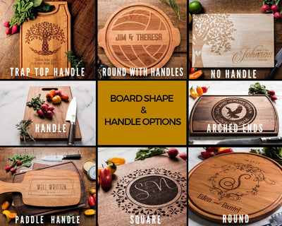 Personalized Charcuterie Board - Custom Cutting Board Wedding Gift - Engagement Gifts for Couple - 5th Anniversary Gift  Wood Chopping Board