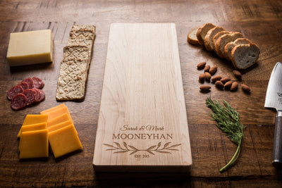 Personalized Maple or Walnut Charcuterie Board - Engraved Wood Cheese Board - Unique Baguette Board Engagement Gift for Couple