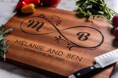 Cutting Board Personalized, Monogrammed Cutting Board, Love is Infinite by Well Written Gifts