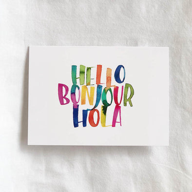 Hello Boujour Hola Card
