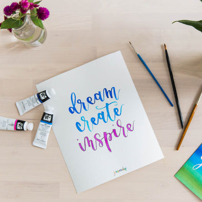 Dream Create Inspire Watercolor Print