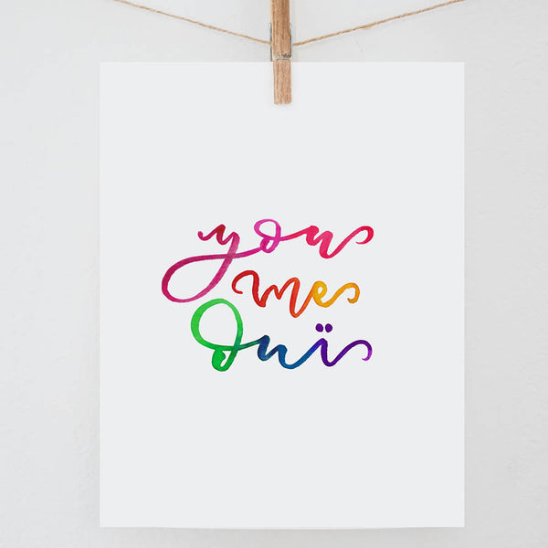 You Me Oui Watercolor Print