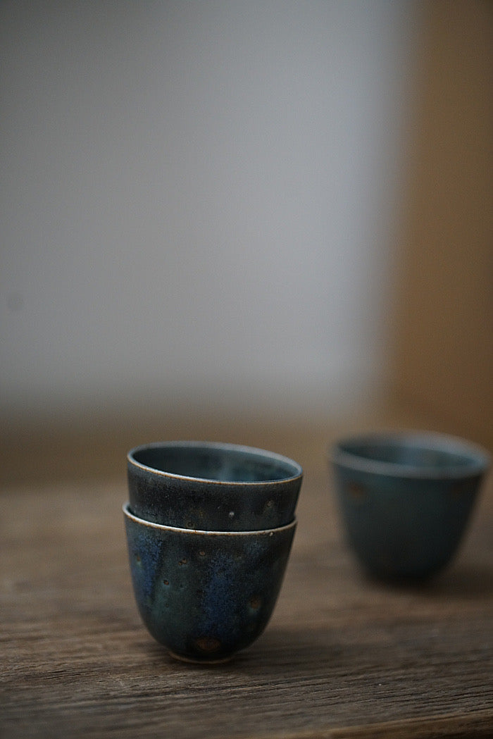 Peacock Blue Kiln-fired Teacups - Series 2