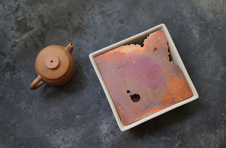 Weathered Red Copper Square Hucheng with Ceramic Base