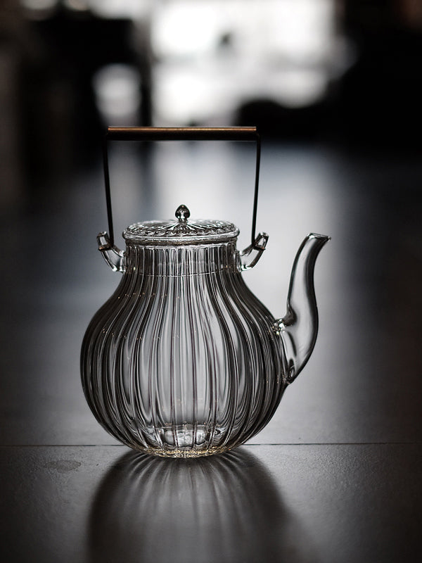 Melon-Shaped Glass Tea Kettle & 2-Cup Set with Bronze Handle