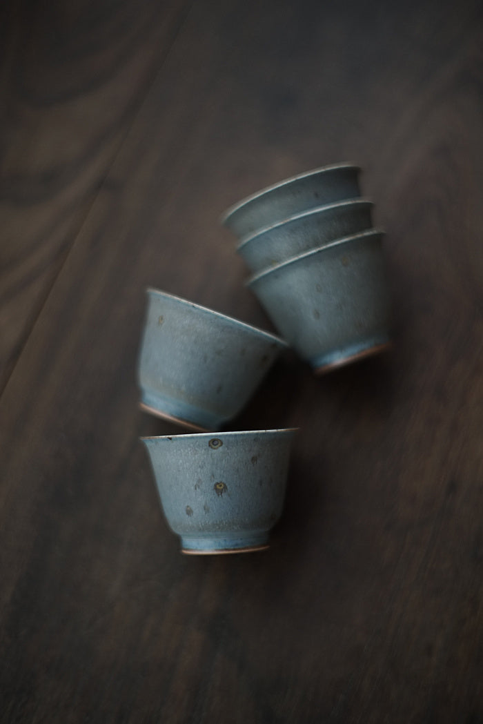 Peacock Blue Kiln-fired Teacups - Series 3