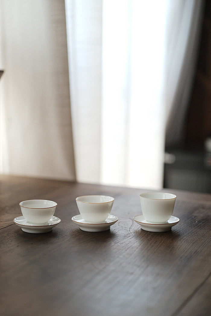 White & Chestnut Rim Gongfu Teacup & Saucer Set