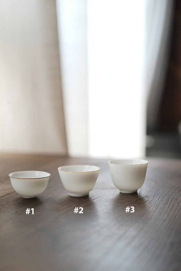 White Gongfu Teacup with Chestnut Rim