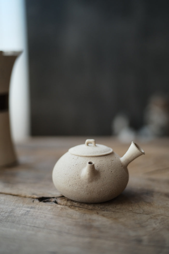 Natural White Clay Side-Handle Tea Kettle