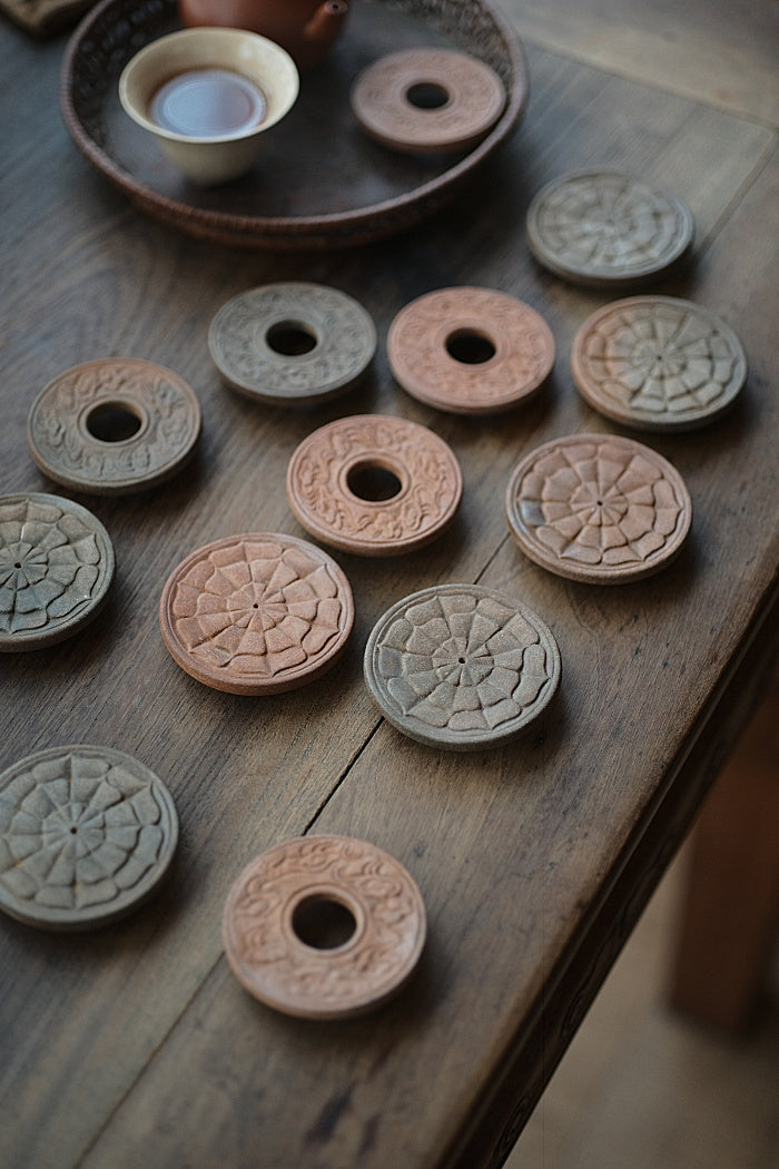 Carved Clay Lid Holders - Lotus & Clouds