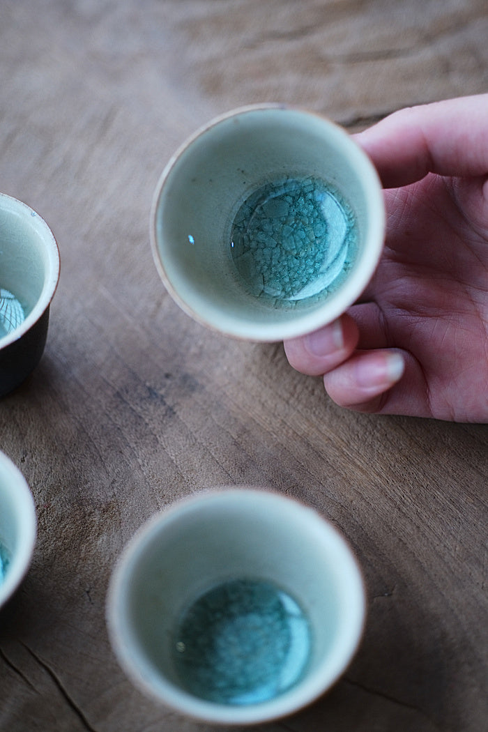 Peacock Blue Kiln-fired Teacups - Series 4