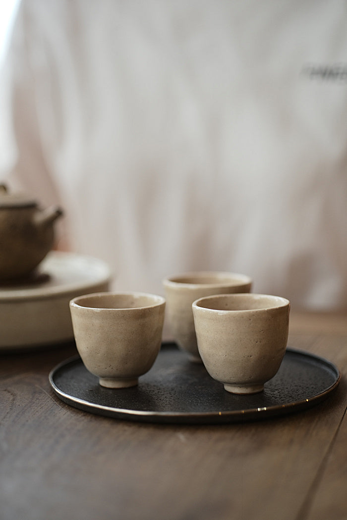 Pinched Ceramic Teacups with Brushed Glaze